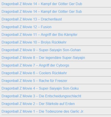 Die Liste der Filme - (Anime, Dragonball, DBZ)