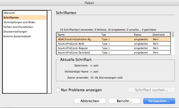 Schriftoption beim Verpacken - (Mac, Schrift, indesign)