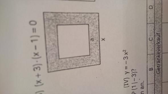 Berechne die Länge x, wenn die Quadratseite a bekannt ist. Wie breit ist der Streifen?