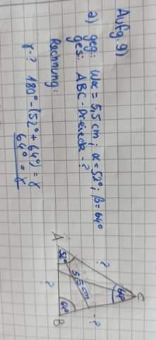 Berechnung ABC Sinussatz?