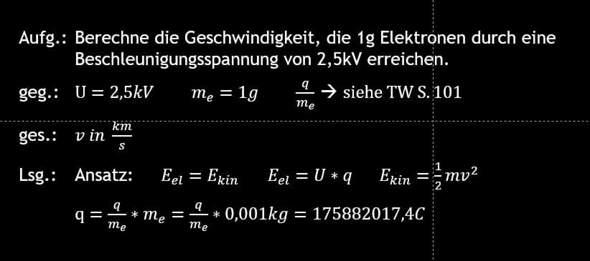 Berechnung der Geschwindigkeit von Elektronen?