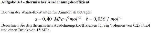 Aufgabe - (Physik, Chemie, Physikalische Chemie)