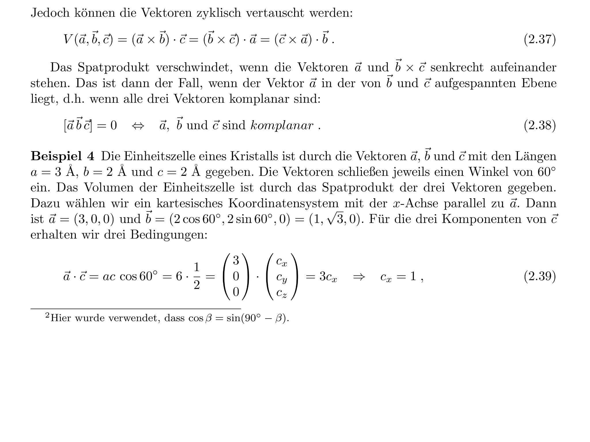 berechnung eines vektors anhand länge und winkel zwischen zwei