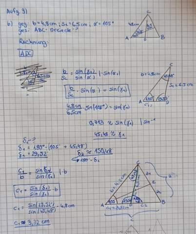 Berechnung Sinussatz ABC?