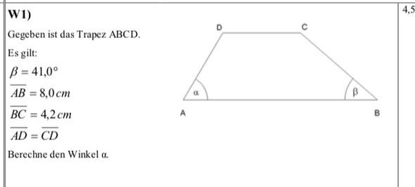 berechnung von matheaufgabe trigonometrie mathe trapez. Black Bedroom Furniture Sets. Home Design Ideas
