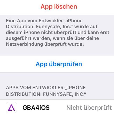 Da kann ich die App nur löschen oder überprüfen dann passiert aber nichts  - (Computer, Handy, Technik)