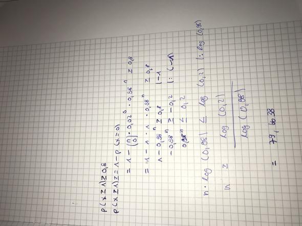 Bernoulli-Kette, n (log) mit der Bernoulli Formel berechnen, was hab ich falsch gemacht?