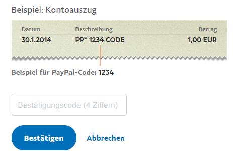 Bestätigungscode Paypal