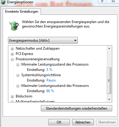 Energieoptionen Einstellung - (Computer, Energieoption, PC warm)