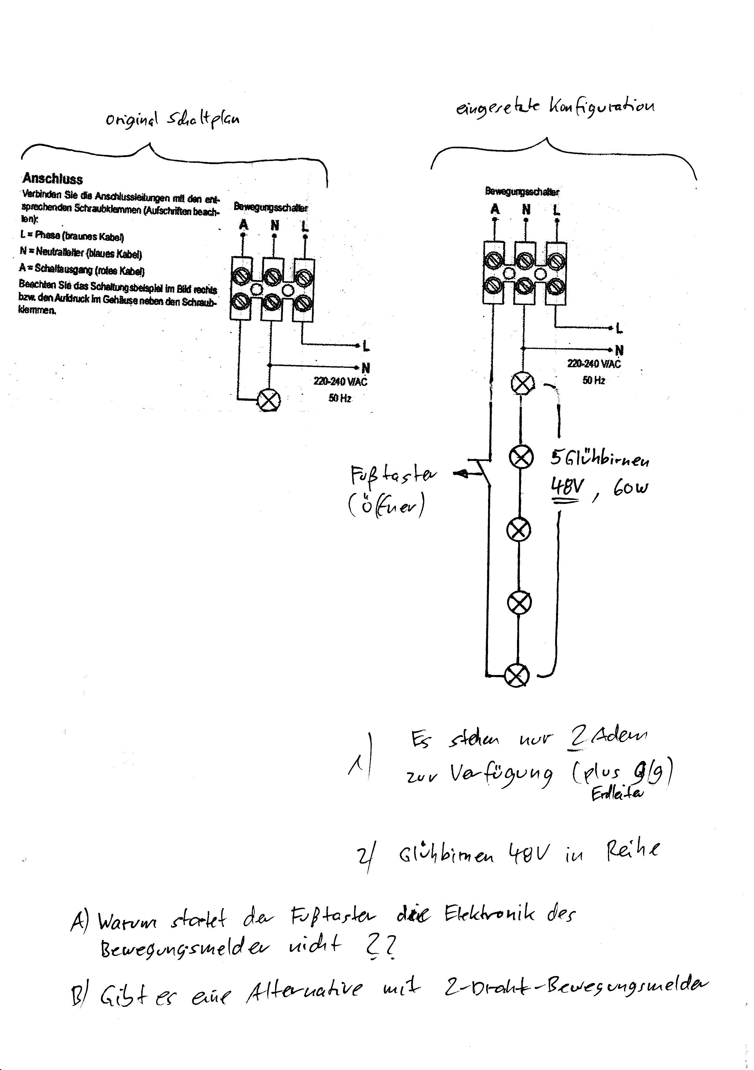 Bewegungsmelder Mit Taster Starten Elektrotechnik Gluhbirne