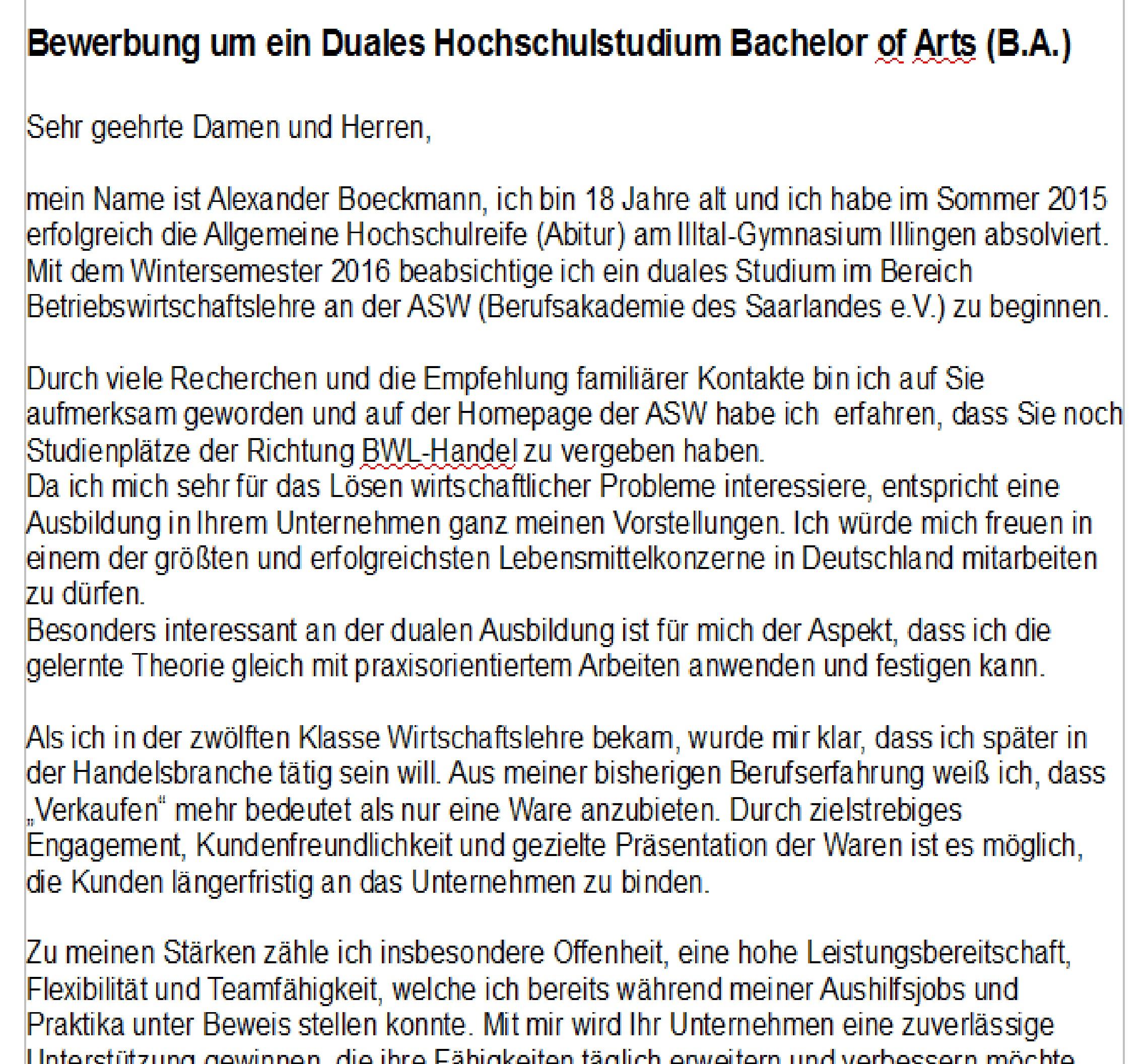 ist meine bewerbung so ok deutsch duales studium - Bewerbung Duales Studium