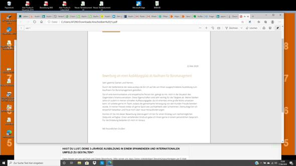 Bewerbung für Kaufmann für Büromanagement?