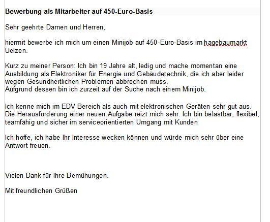 bewerbungsanschreibenminijob bewerbung nebenjob minijob - Bewerbung 450 Euro Job Muster