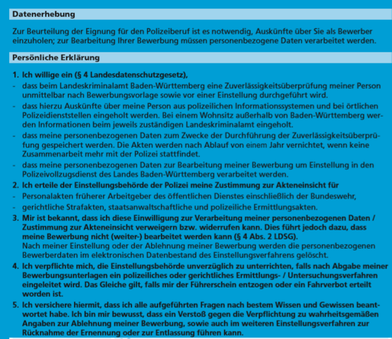 Bewerbung Polizei Landesdatenschutzgesetz Ausbildung Und Studium