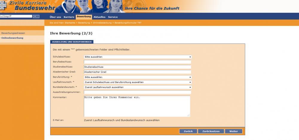 bewerbung zum bachelorstudium im technischen bereich bei der bundeswehr studium online - Bundeswehr Online Bewerbung