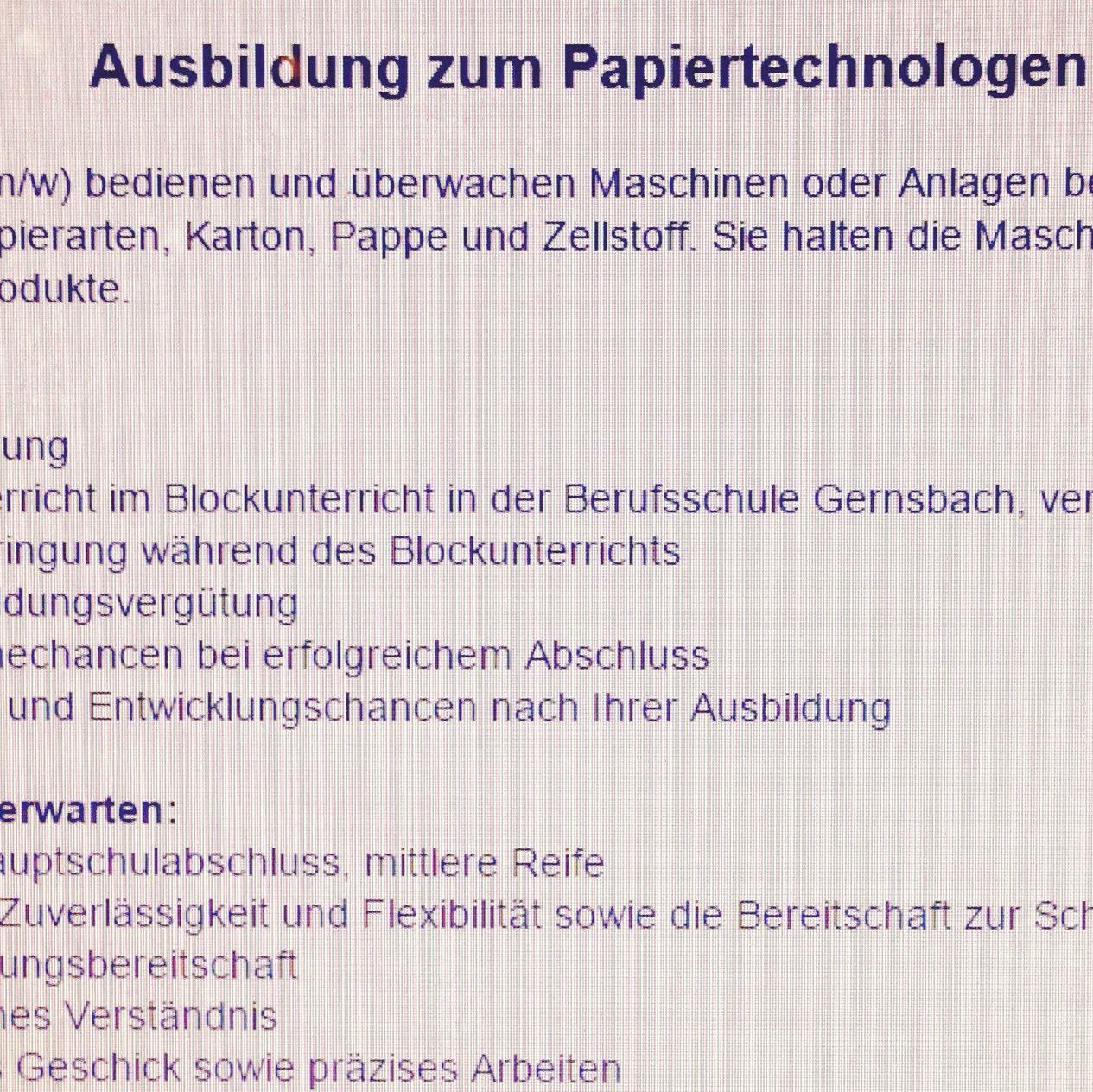 Bewerbung zum papiertechnologe ausbildung muster for Ausbildung zum innendekorateur