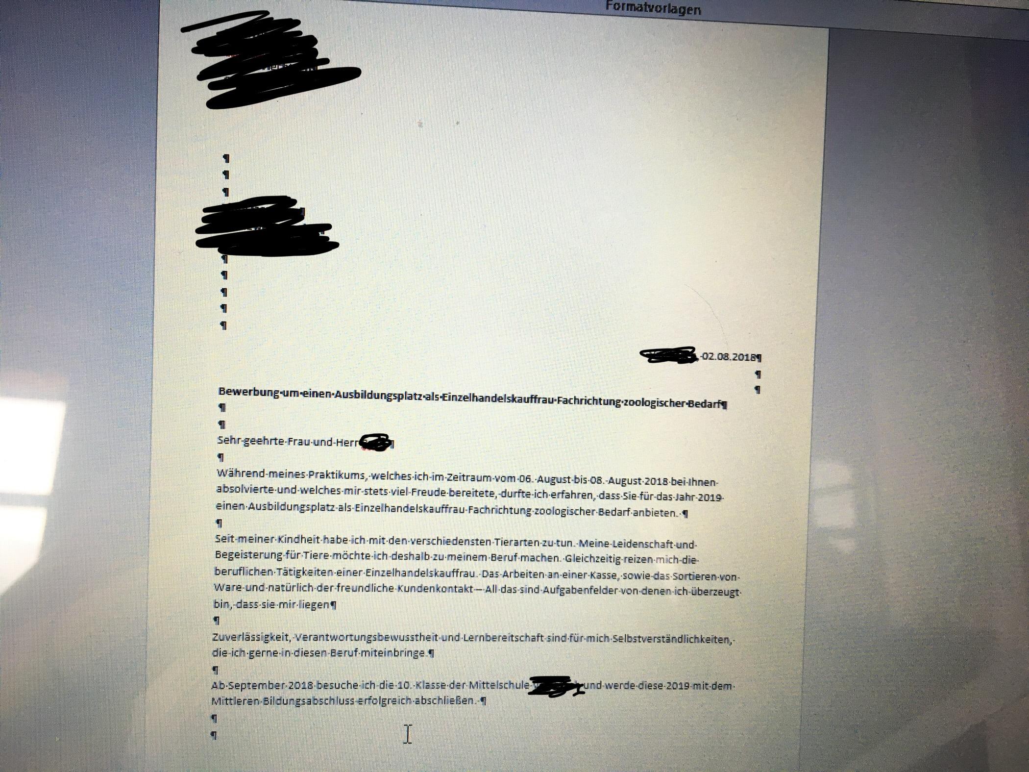 Bewerbungsanschreiben Verbesserungsvorschläge bitte? (Beruf, Tiere,  Bewerbung)