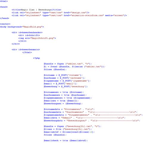 Quellcode1 - (Bewerbung, programmieren, Webseite)