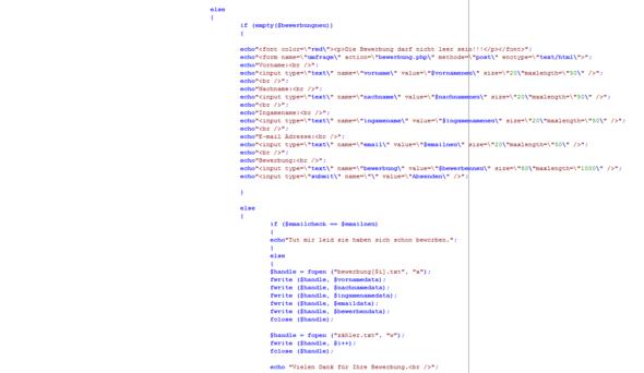 Quellcode4 - (Bewerbung, programmieren, Webseite)