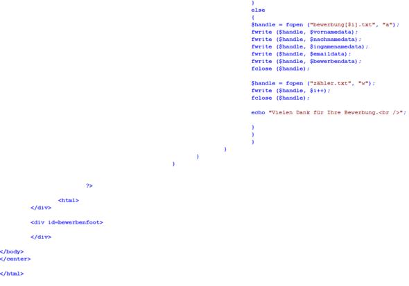 Quellcode5 - (Bewerbung, programmieren, Webseite)