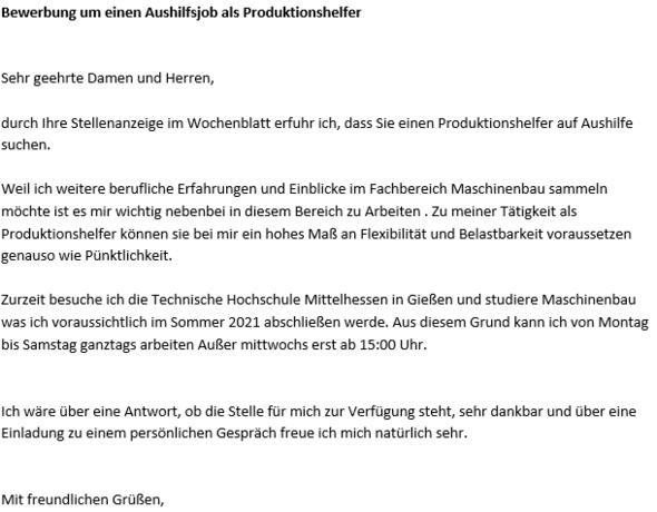 Bewerbungsschreiben Als Aushilfe Produktionshelfer Arbeit Deutsch