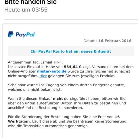 Die Mail - (Geld, PayPal, Daten)