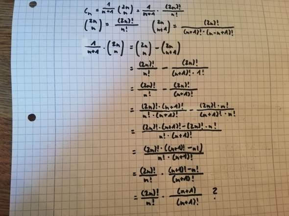 Binomialkoeffizient Catalan-Zahl Beweis?