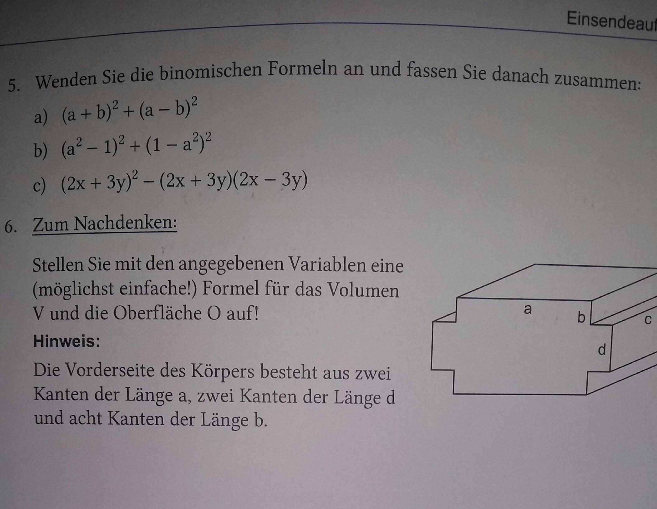 binomische formeln und formel f r ein volumen berechnen. Black Bedroom Furniture Sets. Home Design Ideas