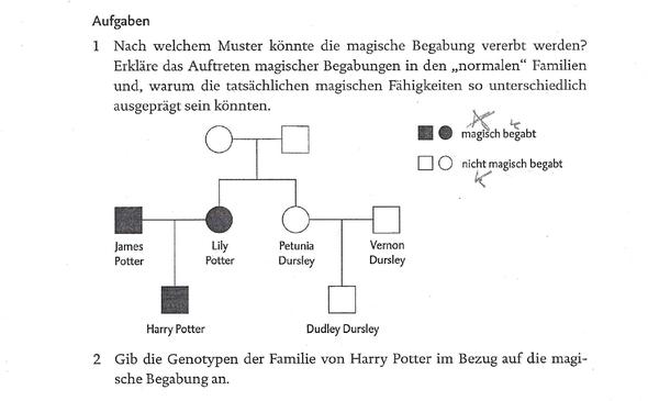 Aufgabenblatt - (Biologie, Harry Potter, Vererbung)