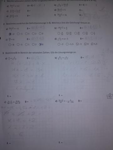 Bitte bei der Mathehausaufgabe helfen!? (Mathe, Bruchgleichungen)