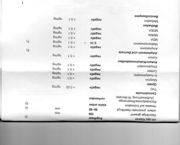 testergebnisse - (Drogen, Haaranalyse)