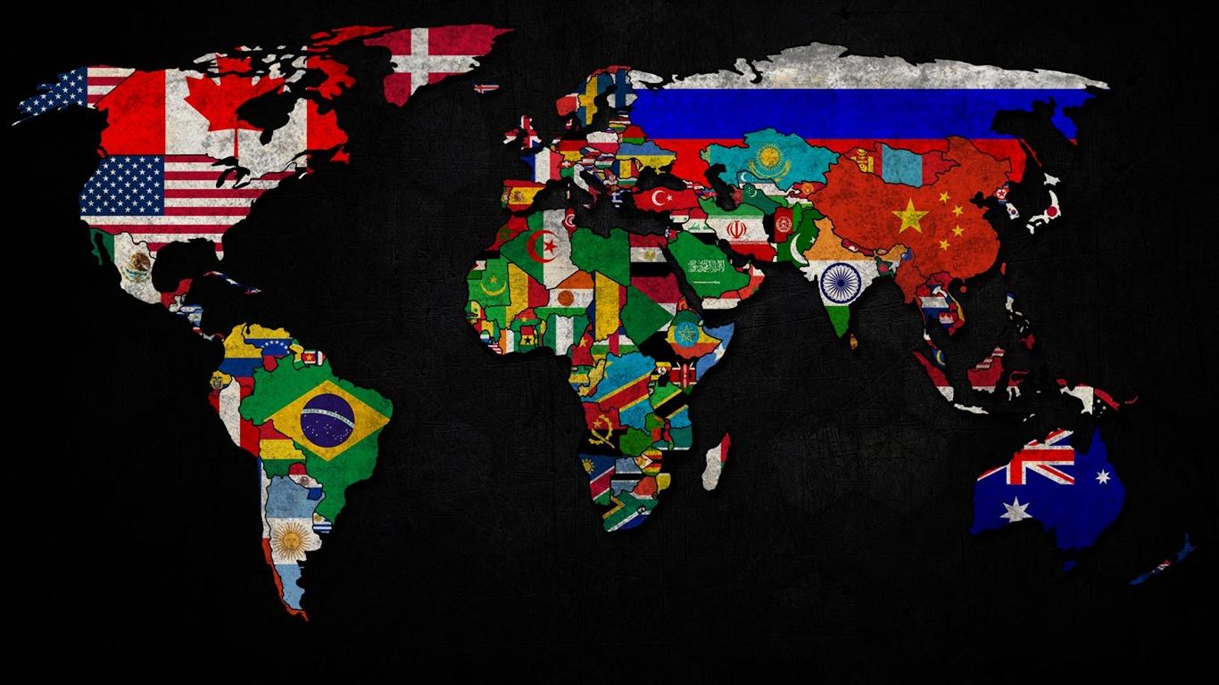 Blanko weltkarte mit flaggen einf rben computer reise for Weltkarte mit fotos