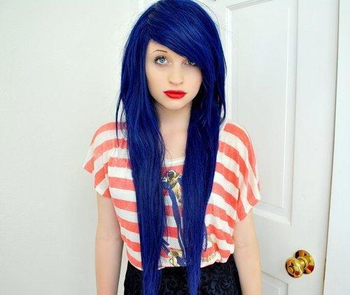Bild 2 - (Blondierung, blaue haare)