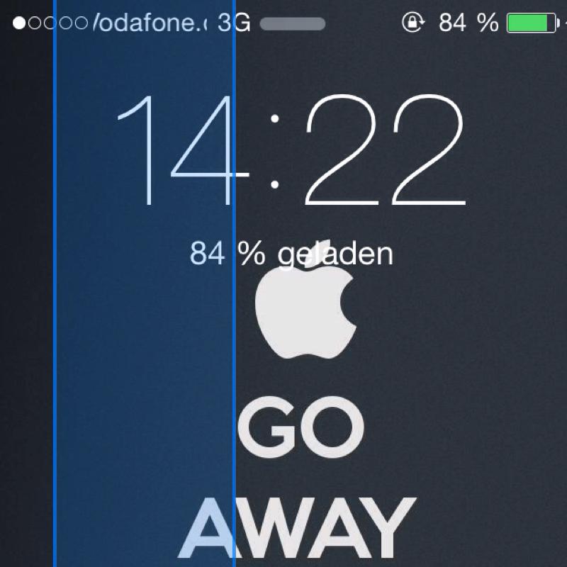 Blauer bewegender Streifen in ios 8 (iPhone, iphone 5, iOS 7)
