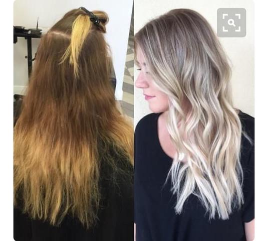 Links meine Haare ungefähr, rechts meine Wunschhaare (Vorlage, kein Muss) - (Haare, Friseur, färben)