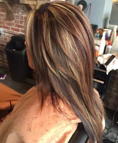 Strähnen schwarz mit blonden Schwarze haare