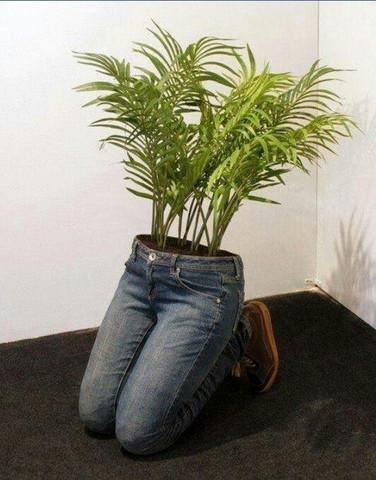 blumentopf - (basteln, Jeans, blumentopf)