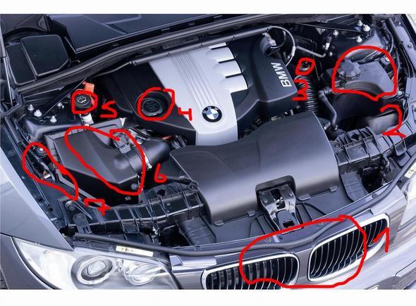 BMW 1 Motorraum: Benennung einzelner Teile (Technik, Auto, Motor)