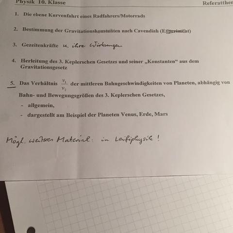 5. Thema  - (Physik, Referat)