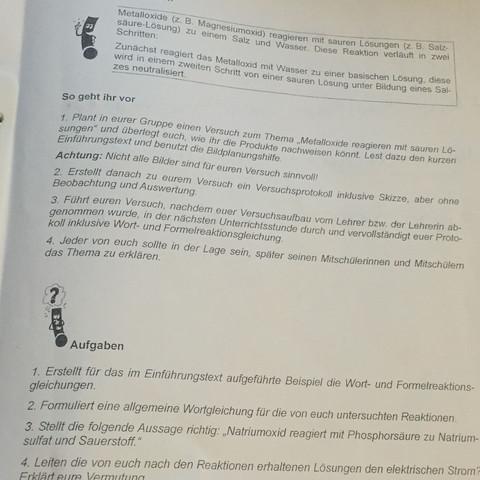 das Aufgabenblatt - (Chemie, Aufgabe)