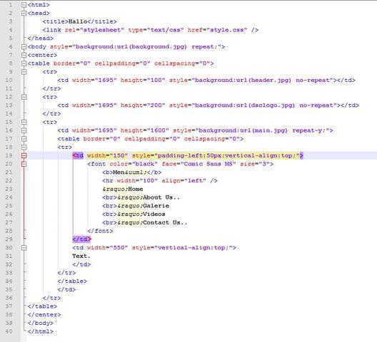 Hauptbereich - (Informatik, html, Tabelle)