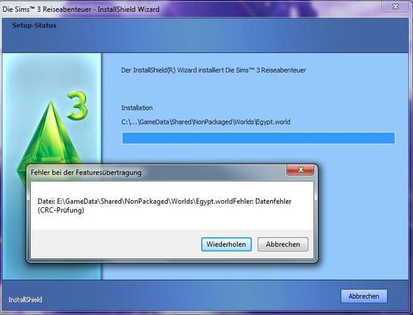 Fehlermeldung - (Sims 3, Fehlermeldung, Installation)