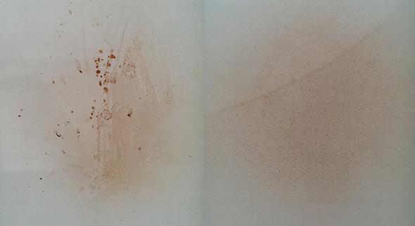 Braune Brand/Hitze-Flecken bzw. Verfärbungen von weißem Ofen entfernen?