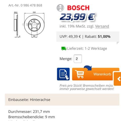 Bosch 23,99€ - (bremsen, Skoda, scheiben)