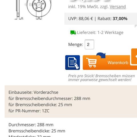 Bosch 54,99€ - (bremsen, Skoda, scheiben)
