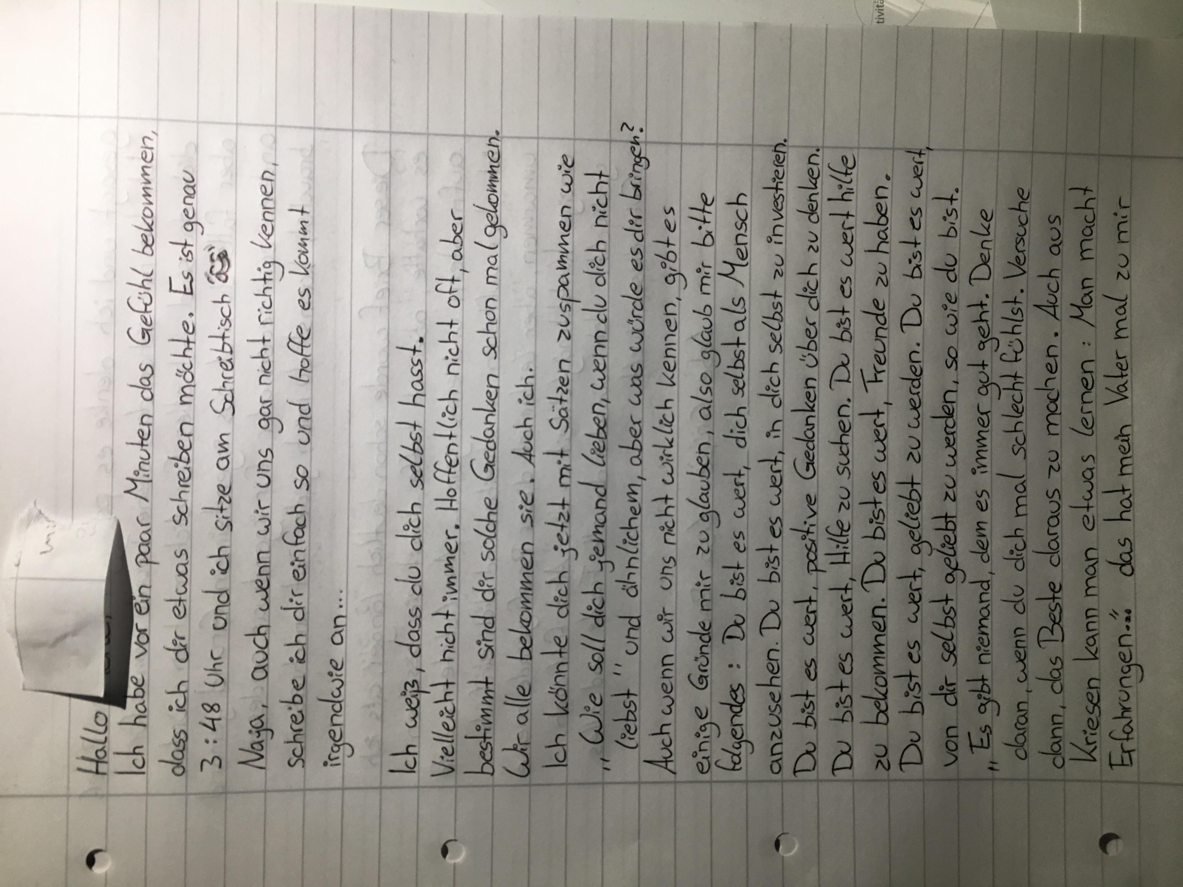 Brief an Freundin mit magersucht in Klinik schreiben