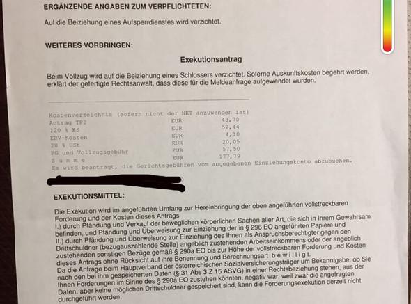 Brief Vom Gericht Exekution Anwalt Inkasso Pfändung