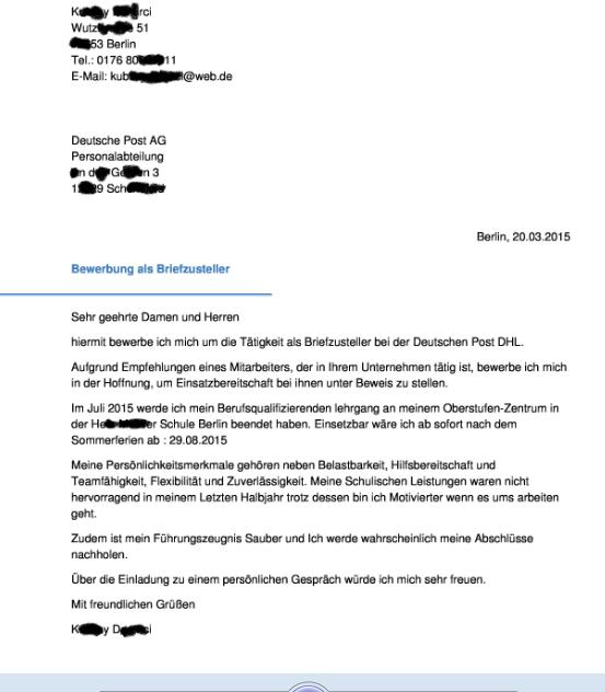 bewerbung briefzusteller bei dhl welcher abschluss bentigt post - Post Bewerbung