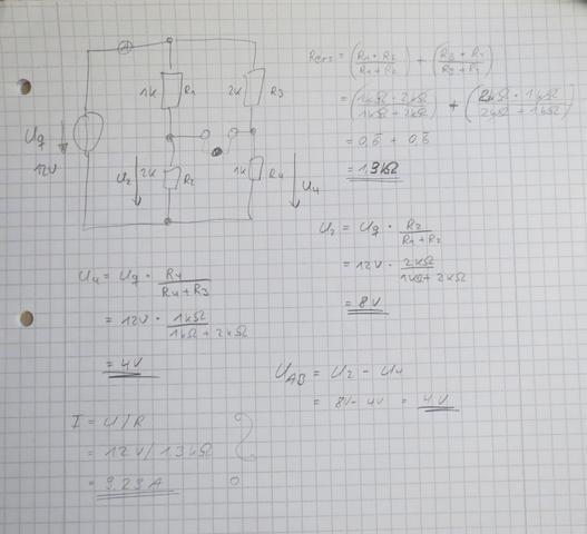 Brückenschaltung - Aufgabe 1 - (Elektrotechnik, Brückenschaltung)