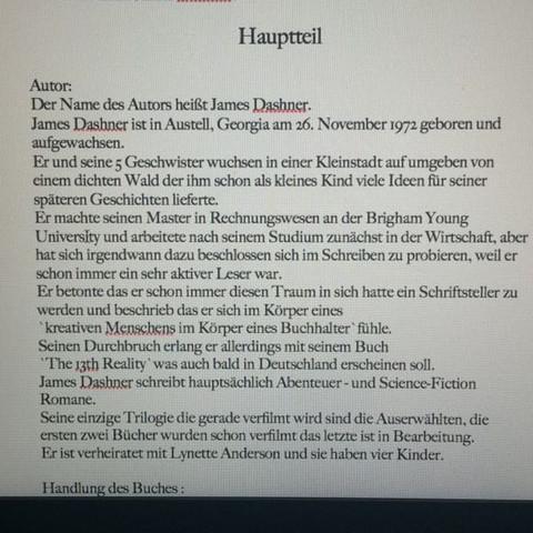 Buchvorstellung Maze Runner Schule Deutsch Buch
